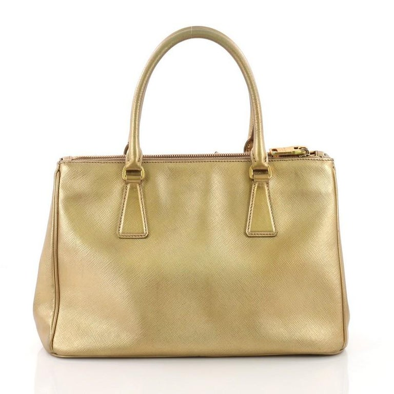 Prada Double Zip Lux Tote Saffiano Leather Small In Good Condition For Sale In New York, NY