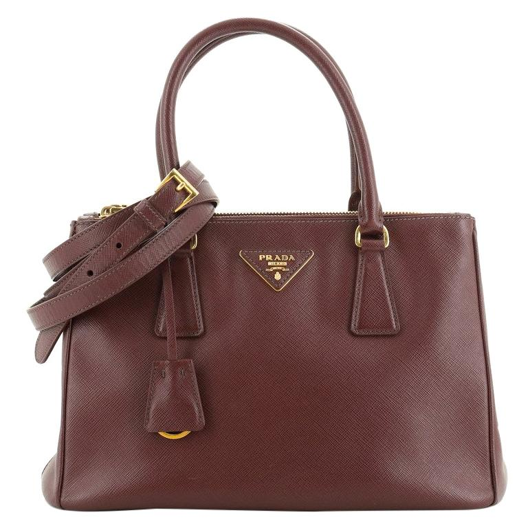 Prada Double Zip Lux Tote Saffiano Leather Small For Sale