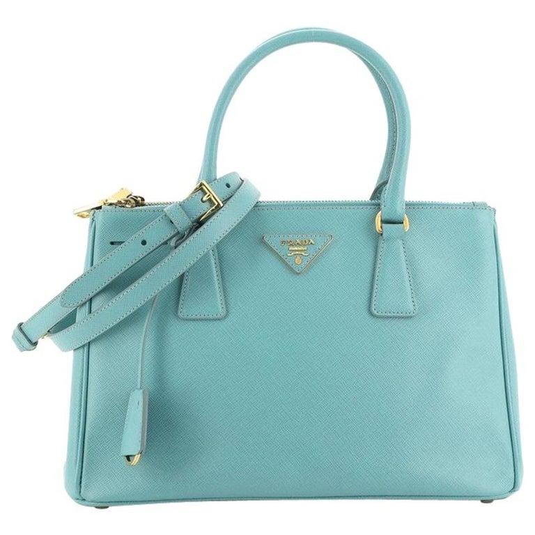 Prada Double Zip Lux Tote Saffiano Leather Small For Sale