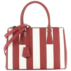 Prada Double Zip Lux Tote Striped Saffiano Leather Small