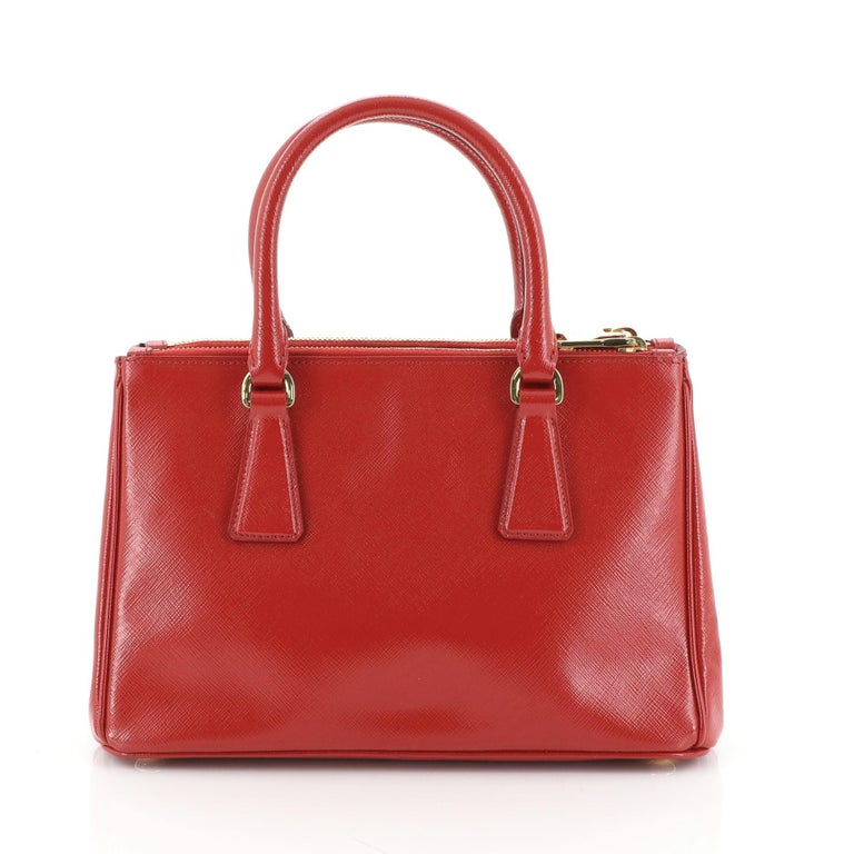 Prada Double Zip Lux Tote Vernice Saffiano Leather Mini In Good Condition For Sale In New York, NY