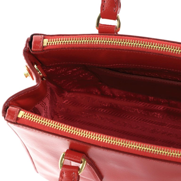 Prada Double Zip Lux Tote Vernice Saffiano Leather Mini For Sale 2
