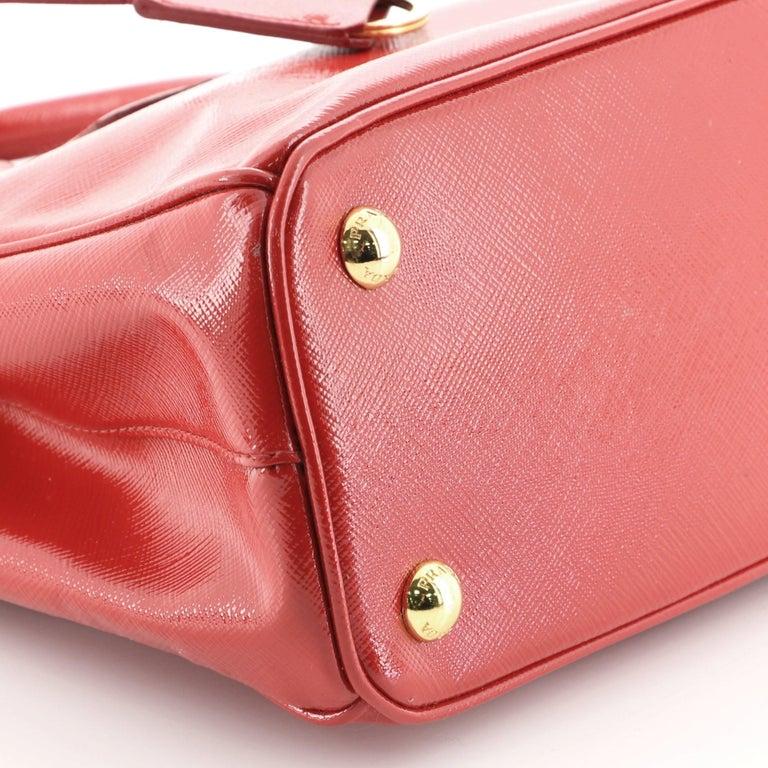 Prada Double Zip Lux Tote Vernice Saffiano Leather Mini For Sale 3