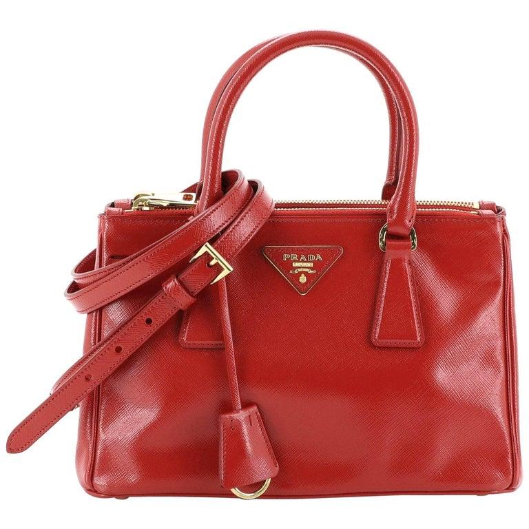 Prada Double Zip Lux Tote Vernice Saffiano Leather Mini For Sale