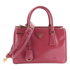 Prada Double Zip Lux Tote Vernice Saffiano Leather Small
