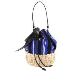 Prada  Drawstring Bucket Bag Canvas and Wicker Small