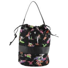 Prada Drawstring Bucket Bag Printed Tessuto Medium
