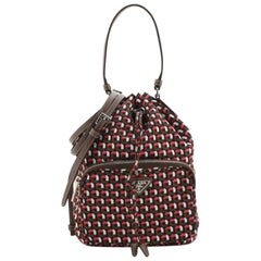 Prada Drawstring Bucket Bag Printed Tessuto Small