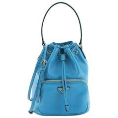 Prada Drawstring Pocket Bucket Bag Soft Calfskin Small