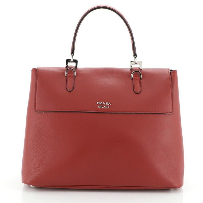 Prada Dual Flap Double Turn Lock Satchel City Calfskin Medium In Good Condition For Sale In New York, NY