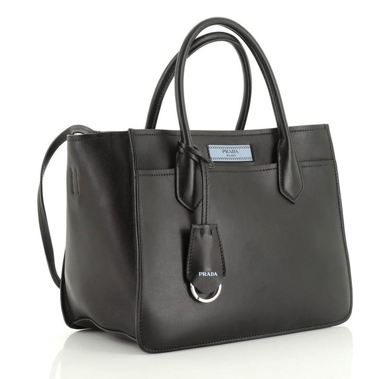 Prada Dual Shopping Tote Calfskin Medium  In Good Condition For Sale In New York, NY