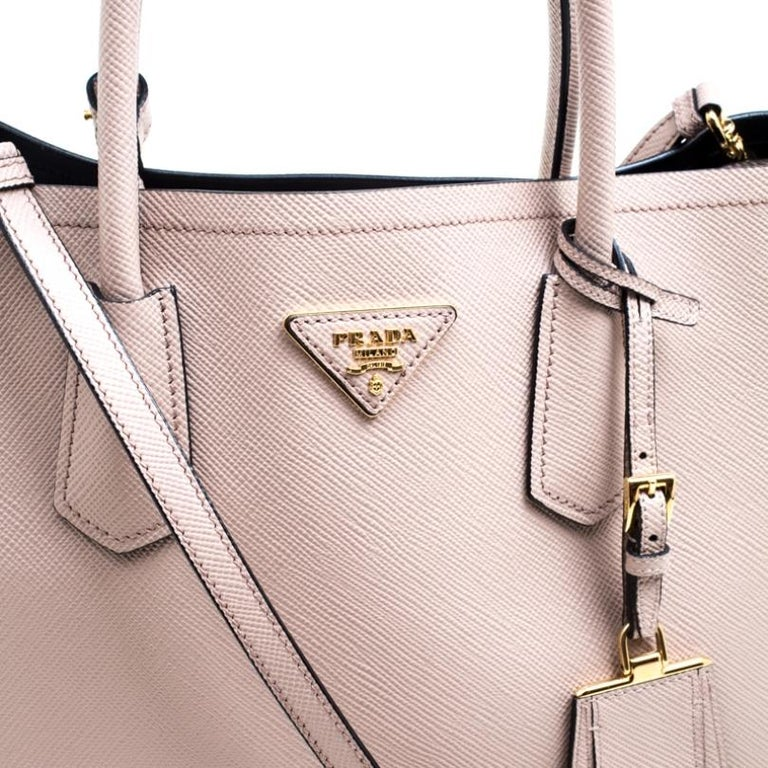 Prada Dusty Pink Leather Top Handle Bag For Sale 4