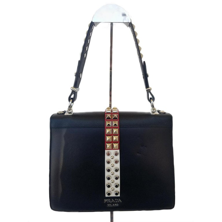 Prada Elektra Black Studded Hand Bag In Excellent Condition For Sale In Columbia, MO