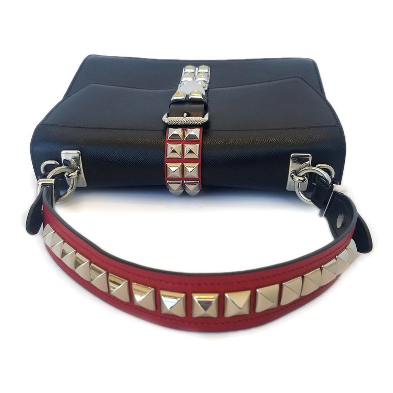 Women's Prada Elektra Black Studded Hand Bag For Sale