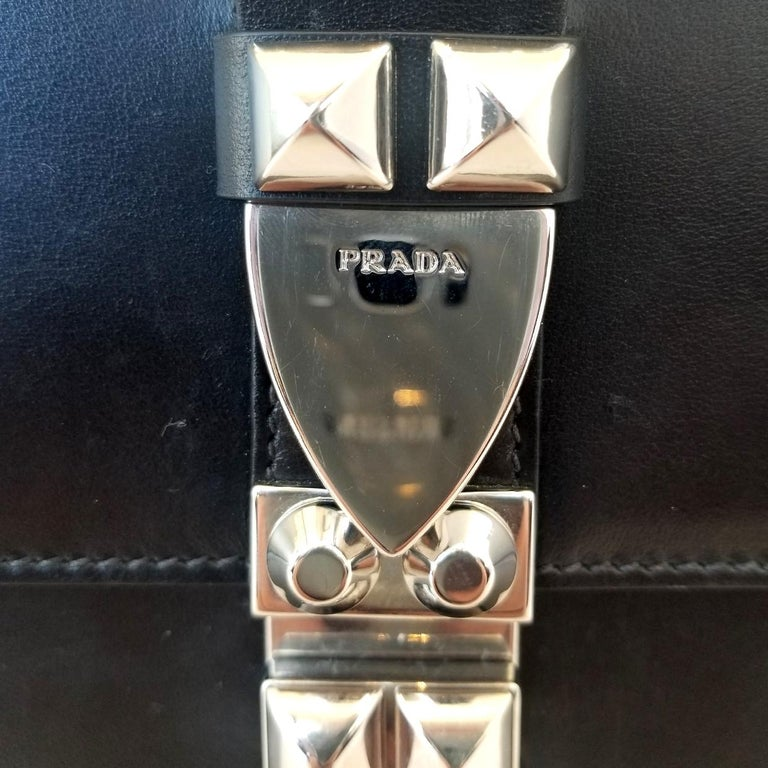 Prada Elektra Black Studded Hand Bag For Sale 2