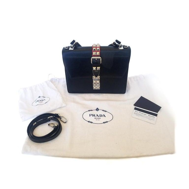 Prada Elektra Black Studded Hand Bag For Sale 4