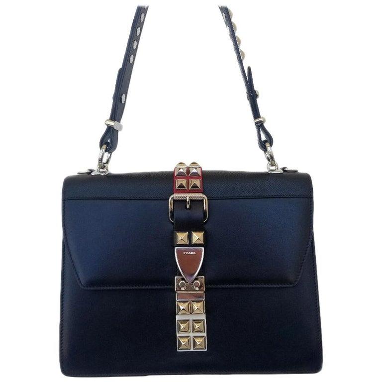 Prada Elektra Black Studded Hand Bag For Sale