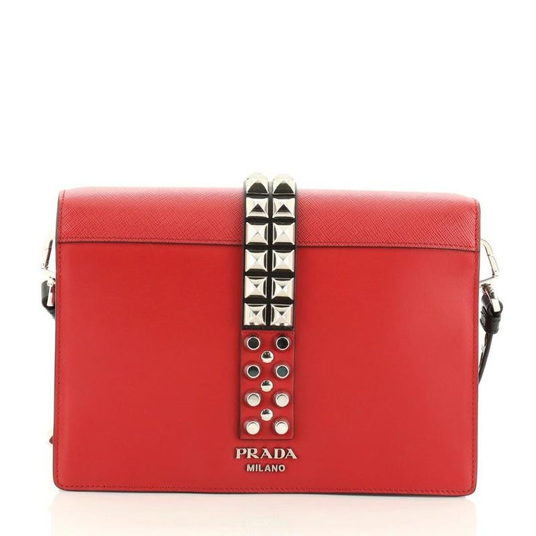Red Prada Elektra Shoulder Bag Studded Leather Small For Sale