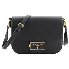 Prada Embleme Flap Shoulder Bag Saffiano Leather