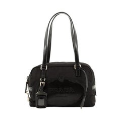 Prada Embossed Logo Bauletto Bag Tessuto with Leather Small