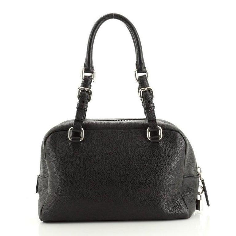 Prada Embossed Logo Bauletto Bag Vitello Daino Medium In Good Condition For Sale In New York, NY