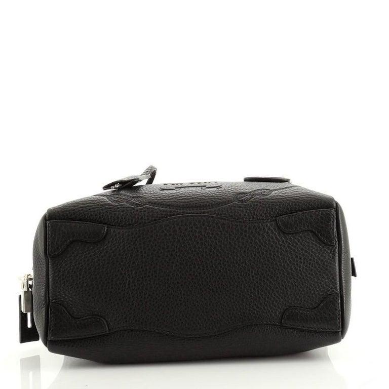 Women's or Men's Prada Embossed Logo Bauletto Bag Vitello Daino Medium For Sale