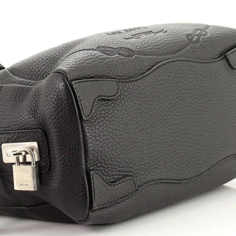 Prada Embossed Logo Bauletto Bag Vitello Daino Medium For Sale 2
