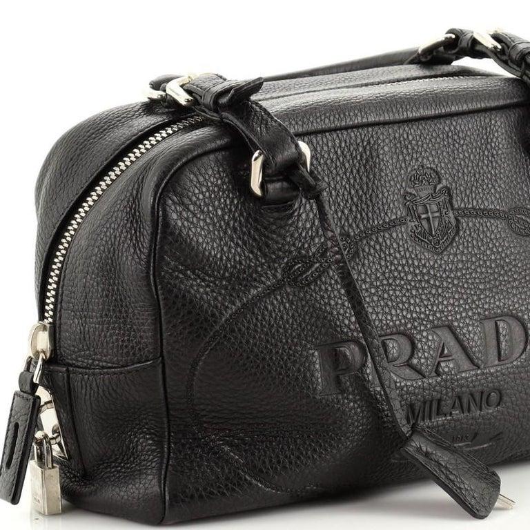 Prada Embossed Logo Bauletto Bag Vitello Daino Medium For Sale 3