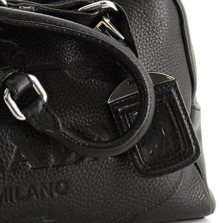 Prada Embossed Logo Bauletto Bag Vitello Daino Medium For Sale 4