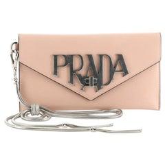 Prada Envelope Logo Clutch Spazzolato Leather