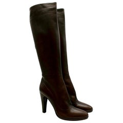 Prada Espresso Leather Heeled Knee-Length Boots US9