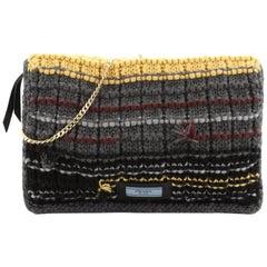 Prada Etiquette Chain Flap Bag Cable Knit Wool Medium