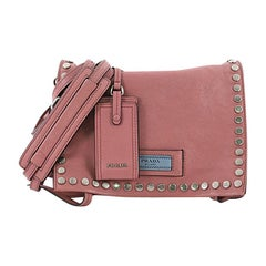 Prada Etiquette Flap Bag Studded Glace Calfskin Small