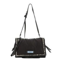 Prada Etiquette Flap Bag Studded Tessuto Medium
