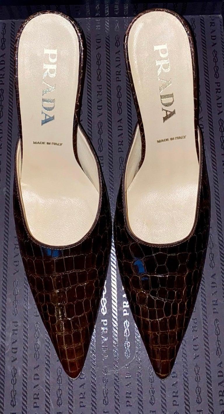 Black Prada Exotic Brown Alligator Skin High Heel Pumps Mules For Sale