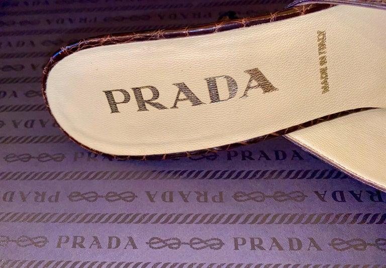 Prada Exotic Brown Alligator Skin High Heel Pumps Mules In Good Condition For Sale In Switzerland, CH