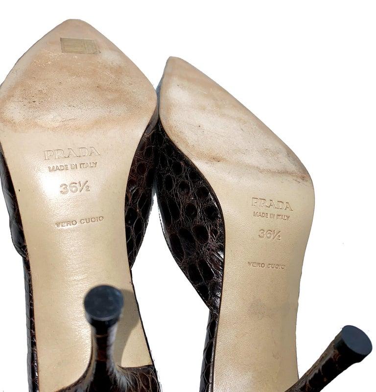 Prada Exotic Brown Alligator Skin High Heel Pumps Mules For Sale 1