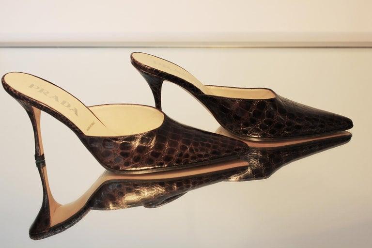 Prada Exotic Brown Alligator Skin High Heel Pumps Mules For Sale 2