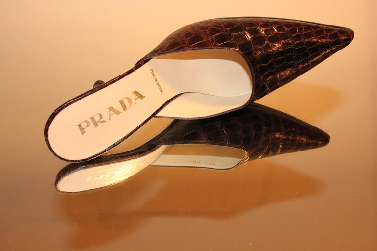 Prada Exotic Brown Alligator Skin High Heel Pumps Mules For Sale 3