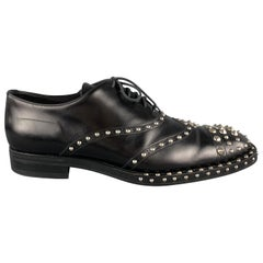 PRADA F/W 09 Size 10.5 Black Studded Leather Cap Toe Lace Up Shoes