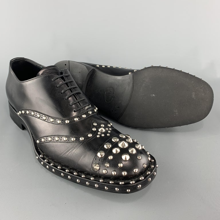 Men's PRADA F/W 09 Size 8.5 Black Studded Leather Cap Toe Lace Up Shoes For Sale