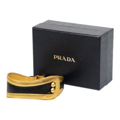 Prada Fairy Collection Black Gold Leather Choker Necklace