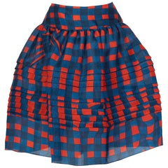 Prada Fairy Collection Red Blue Plaid Silk Skirt, 2008
