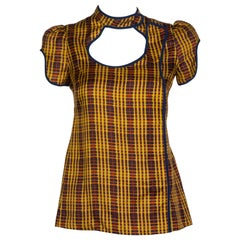Prada Fairy Collection Silk Cut Out Yellow Plaid Blouse Spring 2008