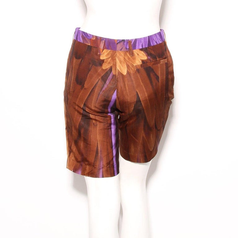 Prada Feather Print Shorts S/S RTW 2005 In Good Condition For Sale In Los Angeles, CA