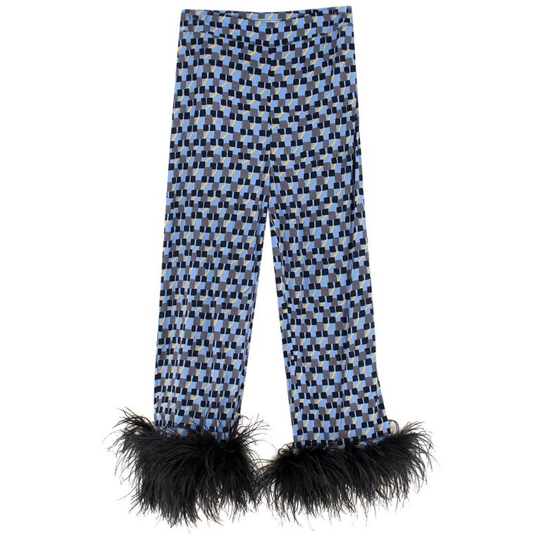 Prada Feather-Trimmed Printed Crepe De Chine Pants IT 36