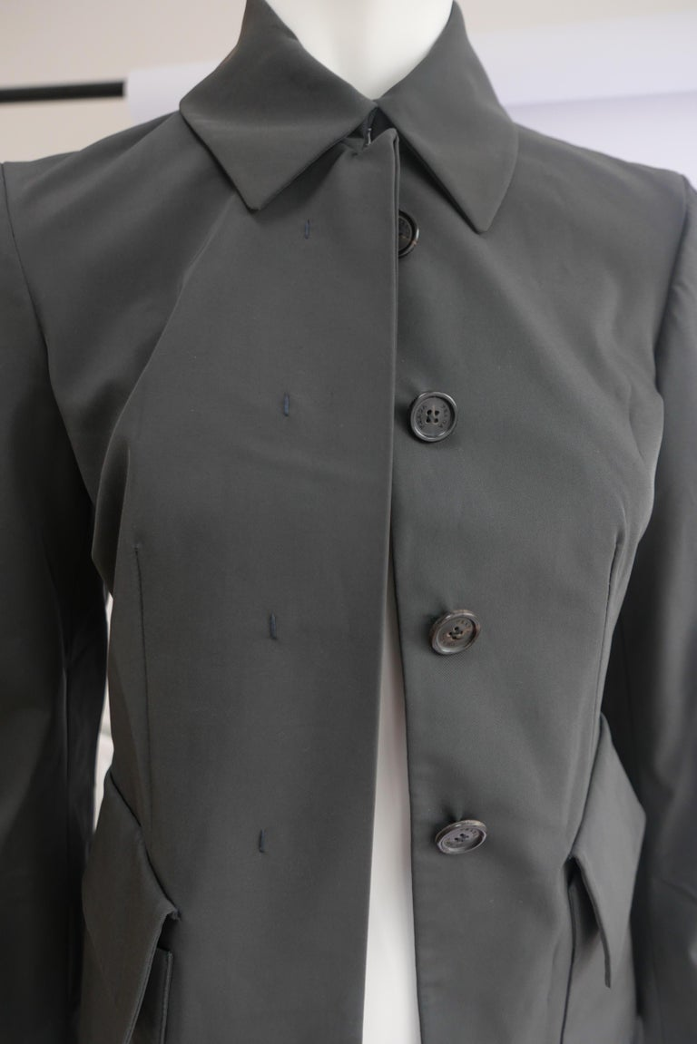 Prada Fitted Jacket 38 Dark Grey  In Good Condition For Sale In London, GB