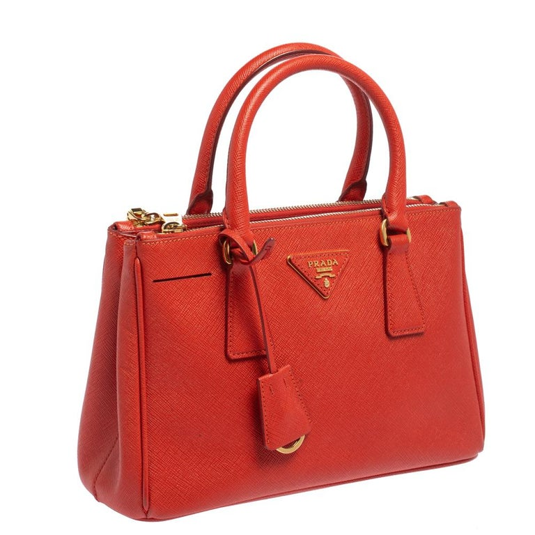 Red Prada Flame Saffiano Lux Leather Small Double Zip Tote For Sale