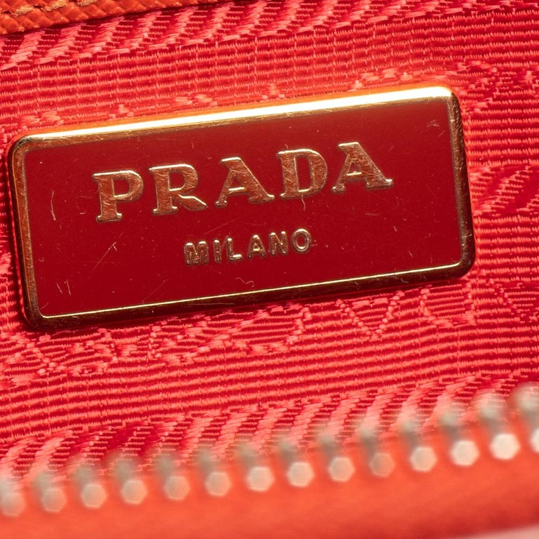 Prada Flame Saffiano Lux Leather Small Double Zip Tote For Sale 1