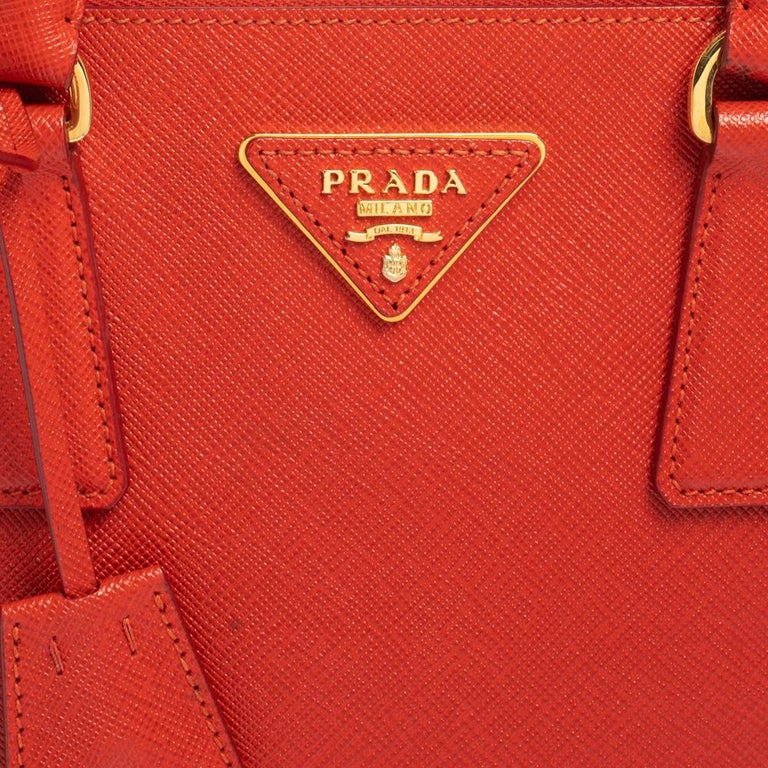 Prada Flame Saffiano Lux Leather Small Double Zip Tote For Sale 2